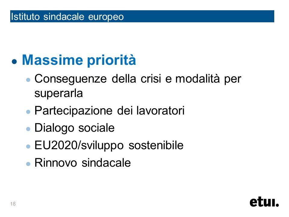 Istituto sindacale europeo Massime priorità Conseguenze della crisi e modalità per superarla Partecipazione dei lavoratori Dialogo sociale EU2020/sviluppo sostenibile Rinnovo sindacale 18