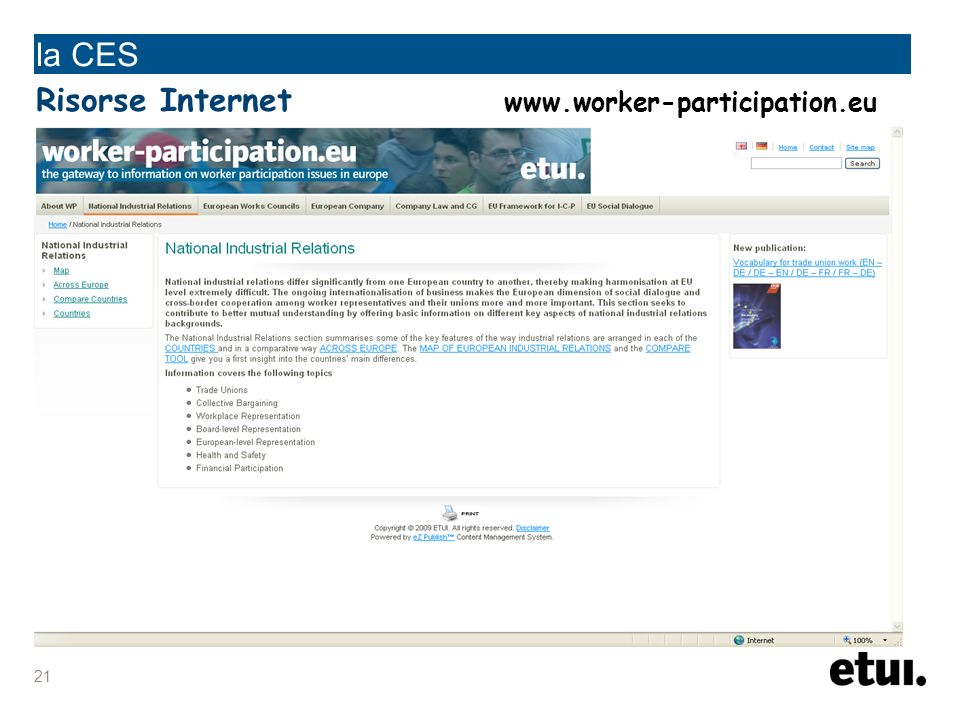 21 la CES Risorse Internet www.worker-participation.eu