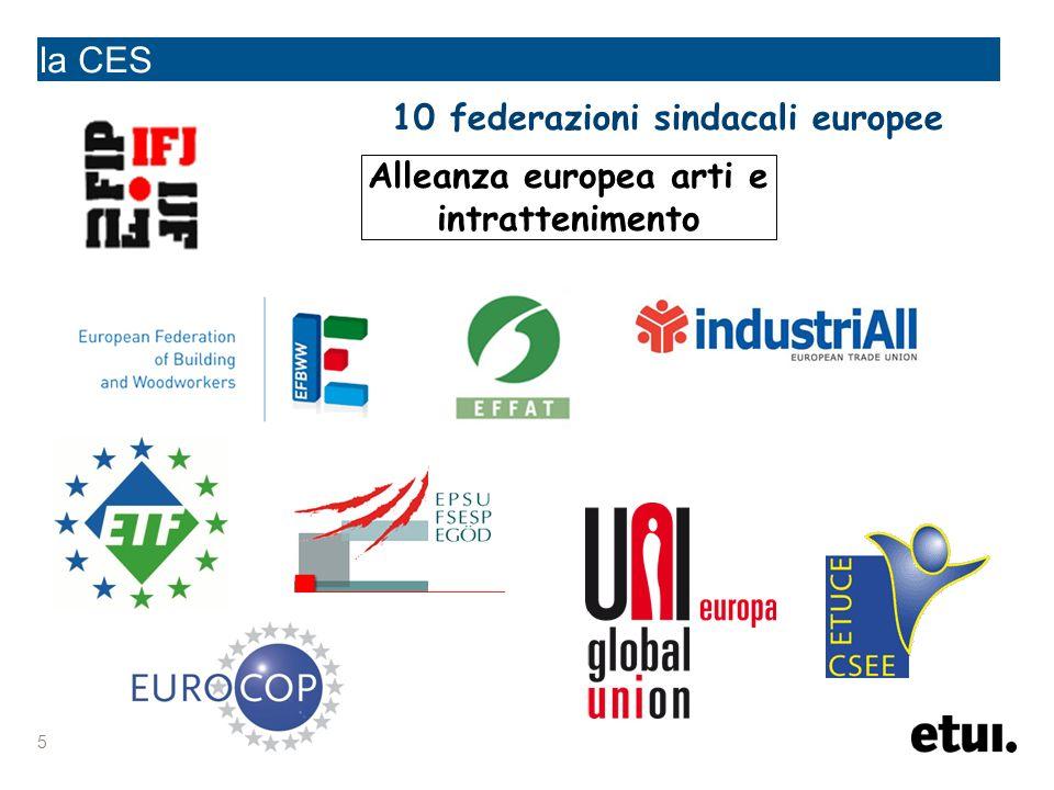 5 la CES Alleanza europea arti e intrattenimento 10 federazioni sindacali europee