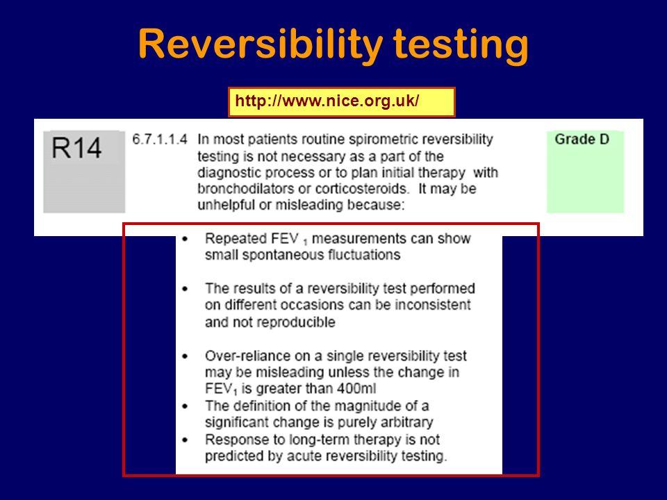 Reversibility testing http://www.nice.org.uk/