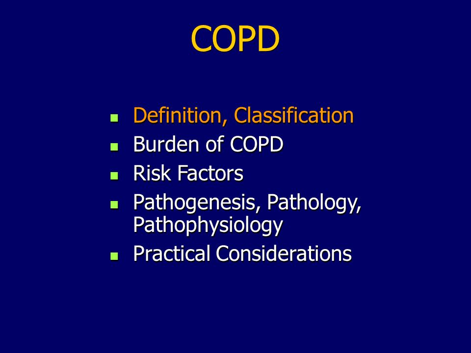 Burden of COPD: Key Points COPD is a leading cause of morbidity and mortality worldwide and results in an economic and social burden that is both substantial and increasing COPD prevalence, morbidity, and mortality vary across countries and across different groups within countries The burden of COPD is projected to increase in the coming decades due to continued exposure to COPD risk factors and the changing age structure of the worlds population