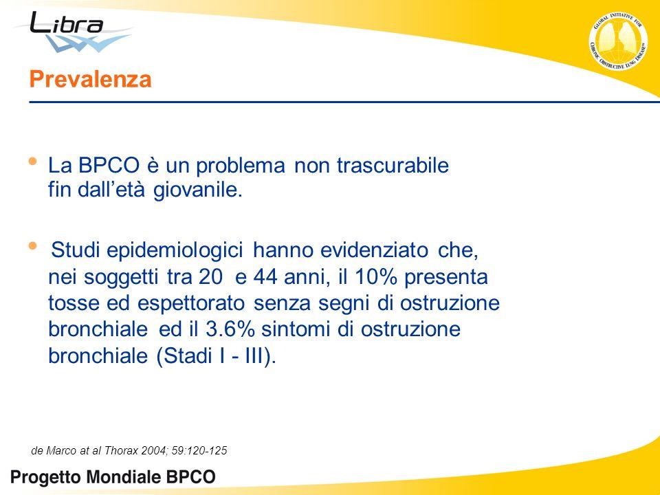 Prevalenza La BPCO è un problema non trascurabile fin dalletà giovanile. Studi epidemiologici hanno evidenziato che, nei soggetti tra 20 e 44 anni, il