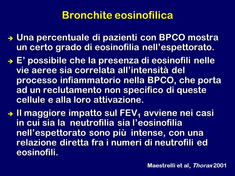 Bronchite eosinofilica Una percentuale di pazienti con BPCO mostra un certo grado di eosinofilia nellespettorato. E possibile che la presenza di eosin