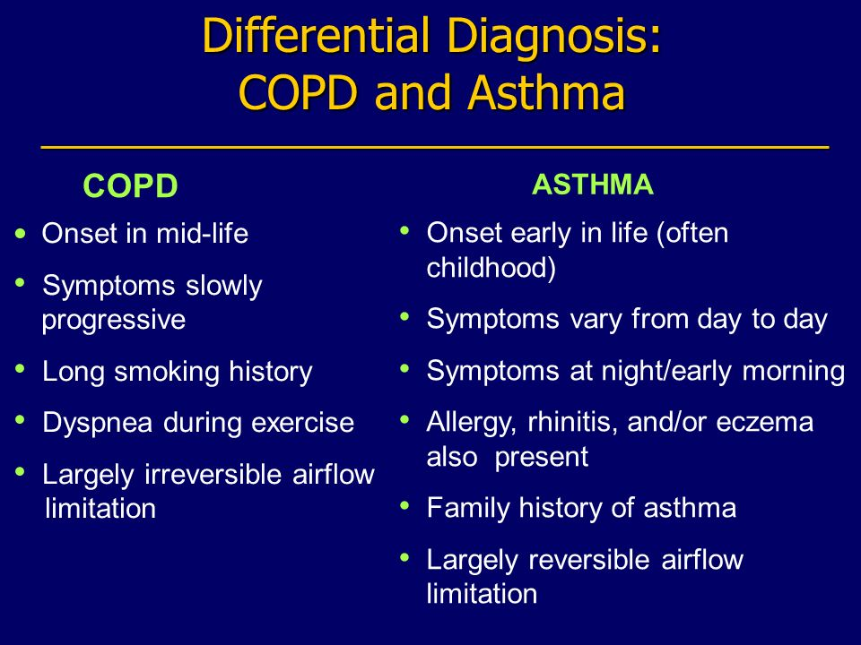 Differential Diagnosis: COPD and Asthma COPD ASTHMA Onset in mid-life Symptoms slowly progressive Long smoking history Dyspnea during exercise Largely