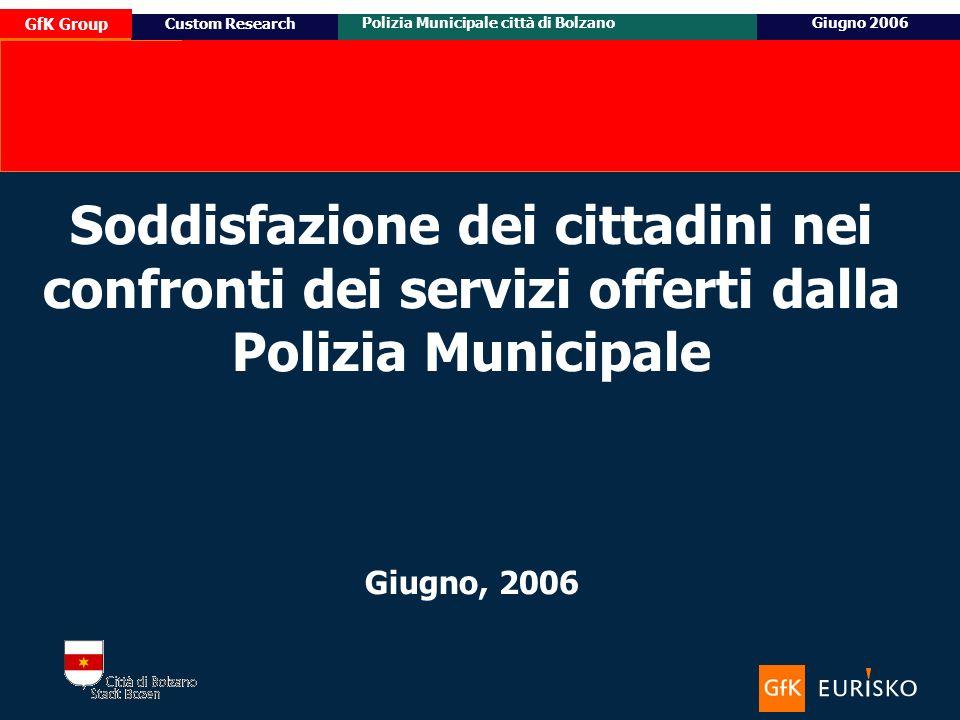 14 Ottobre 2005 Custom Research Posizionamento e target potenziale di Honda Civic GfK Group Polizia Municipale città di BolzanoGiugno 2006 Custom Research Soddisfazione dei cittadini nei confronti dei servizi offerti dalla Polizia Municipale Giugno, 2006
