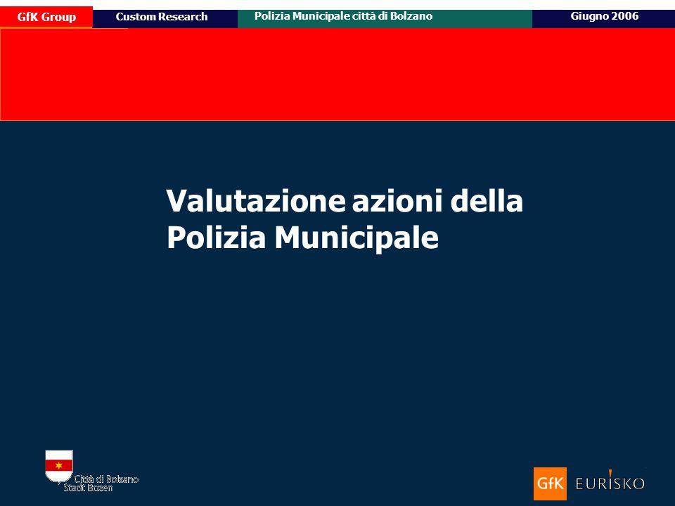 14 Ottobre 2005 Custom Research Posizionamento e target potenziale di Honda Civic GfK Group Polizia Municipale città di BolzanoGiugno 2006 Custom Research Valutazione azioni della Polizia Municipale