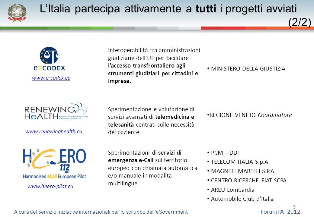 5 5 A cura del Servizio Iniziative internazionali per lo sviluppo delleGovernment ForumPA 2012 Interoperabilità tra amministrazioni giudiziarie dell'U