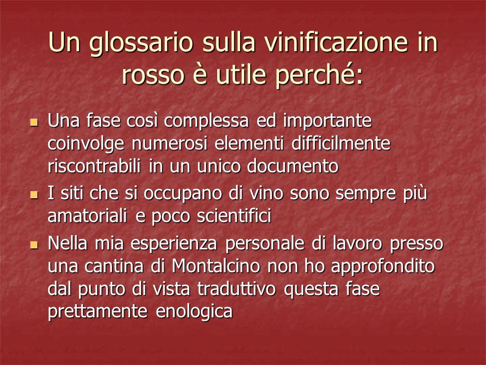 Un glossario sulla vinificazione in rosso è utile perché: Una fase così complessa ed importante coinvolge numerosi elementi difficilmente riscontrabil