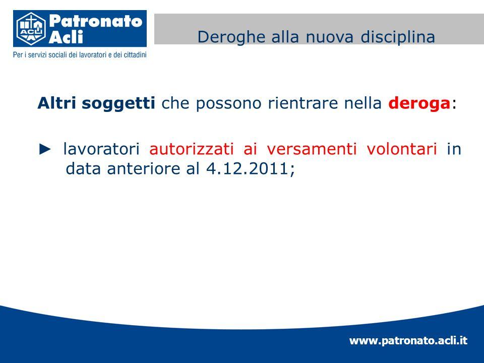 www.patronato.acli.it Incremento requisito anagrafico Altri soggetti che possono rientrare nella deroga: lavoratori autorizzati ai versamenti volontar