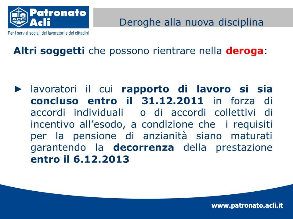 www.patronato.acli.it Incremento requisito anagrafico Altri soggetti che possono rientrare nella deroga: lavoratori il cui rapporto di lavoro si sia c