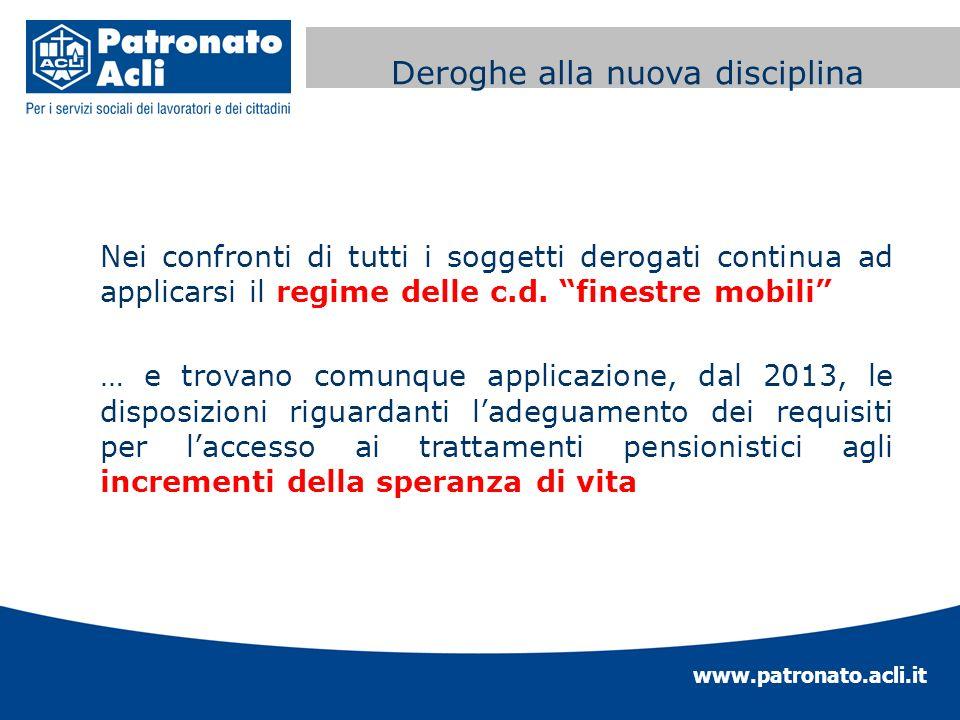 www.patronato.acli.it Incremento requisito anagrafico Nei confronti di tutti i soggetti derogati continua ad applicarsi il regime delle c.d. finestre