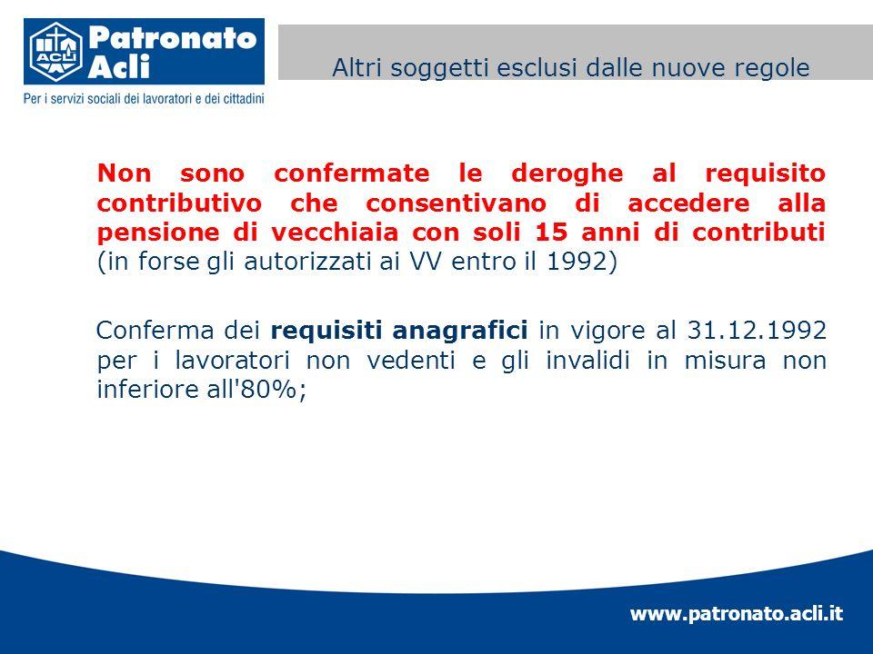 www.patronato.acli.it Incremento requisito anagrafico Non sono confermate le deroghe al requisito contributivo che consentivano di accedere alla pensi