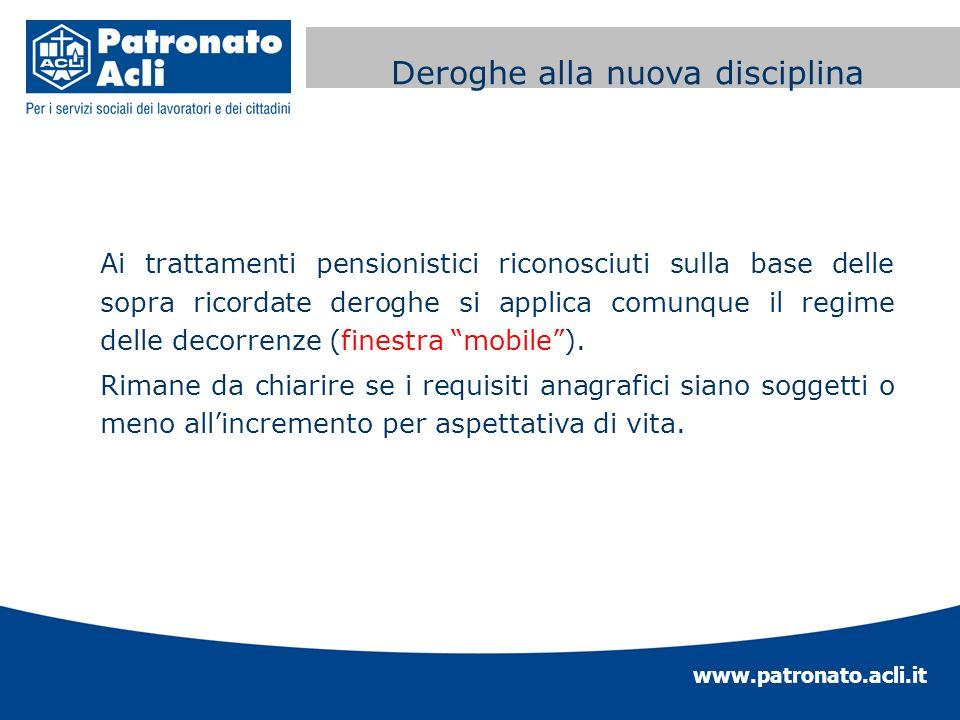 www.patronato.acli.it Incremento requisito anagrafico Ai trattamenti pensionistici riconosciuti sulla base delle sopra ricordate deroghe si applica co