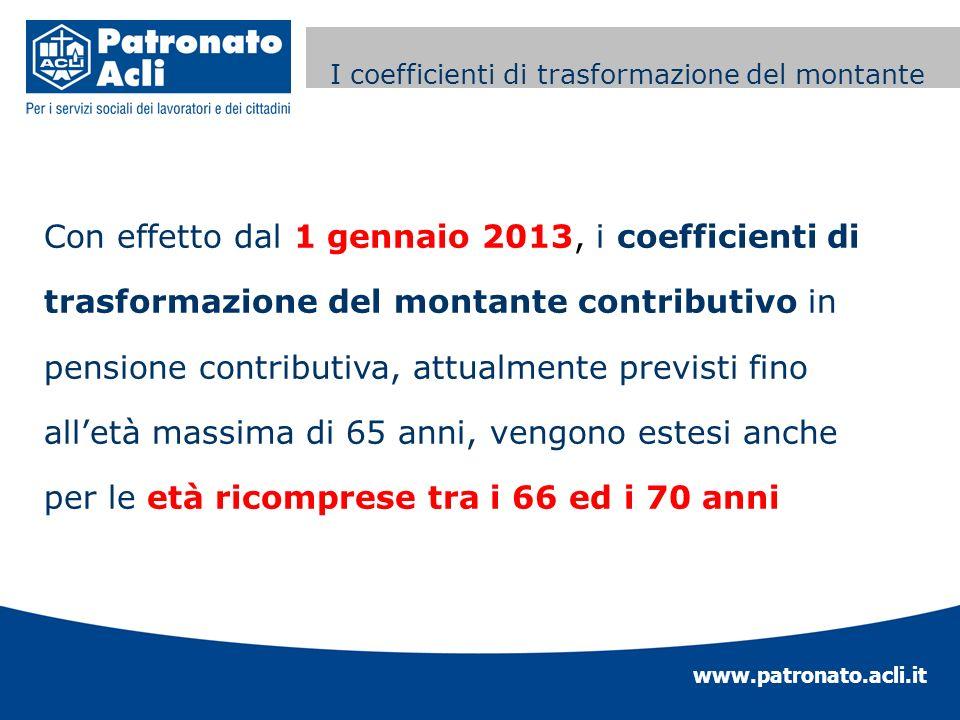 www.patronato.acli.it Incremento requisito anagrafico Con effetto dal 1 gennaio 2013, i coefficienti di trasformazione del montante contributivo in pe