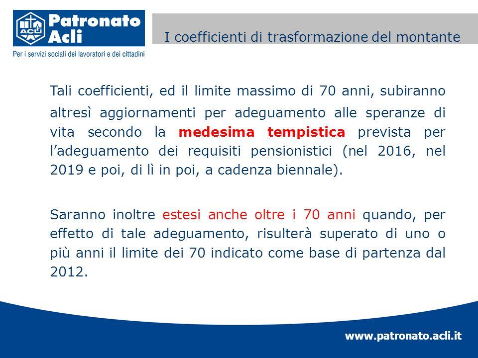 www.patronato.acli.it Incremento requisito anagrafico Tali coefficienti, ed il limite massimo di 70 anni, subiranno altresì aggiornamenti per adeguame