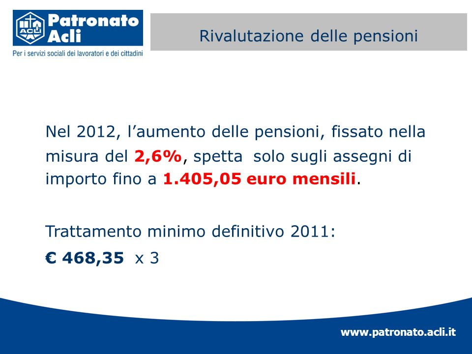 www.patronato.acli.it Perequazione automatica delle Nel 2012, laumento delle pensioni, fissato nella misura del 2,6%, spetta solo sugli assegni di imp