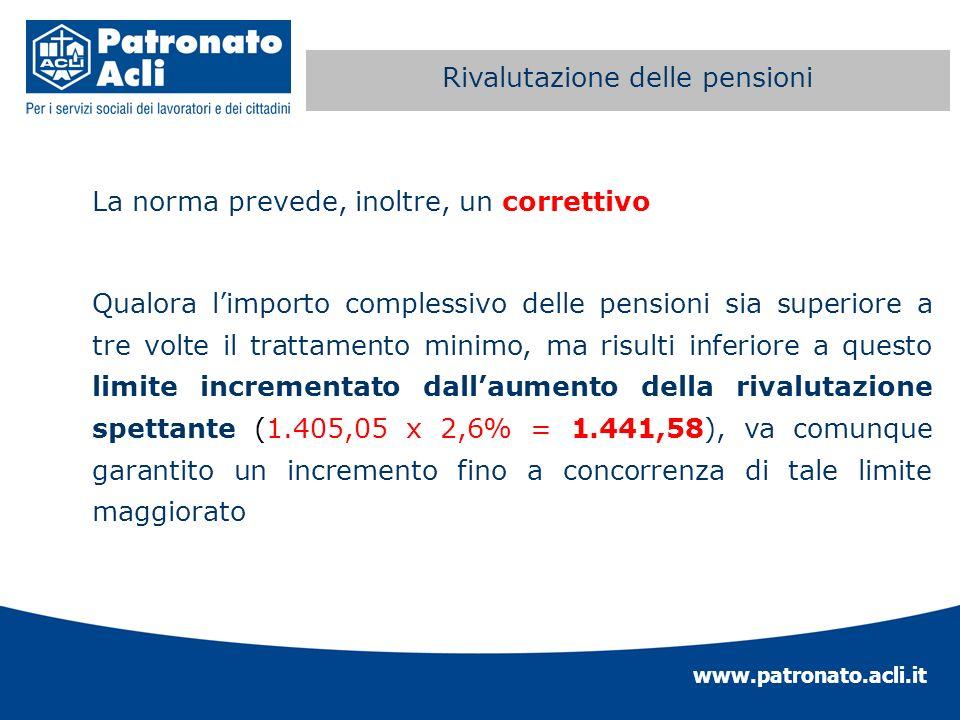 www.patronato.acli.it Perequazione automatica delle La norma prevede, inoltre, un correttivo Qualora limporto complessivo delle pensioni sia superiore