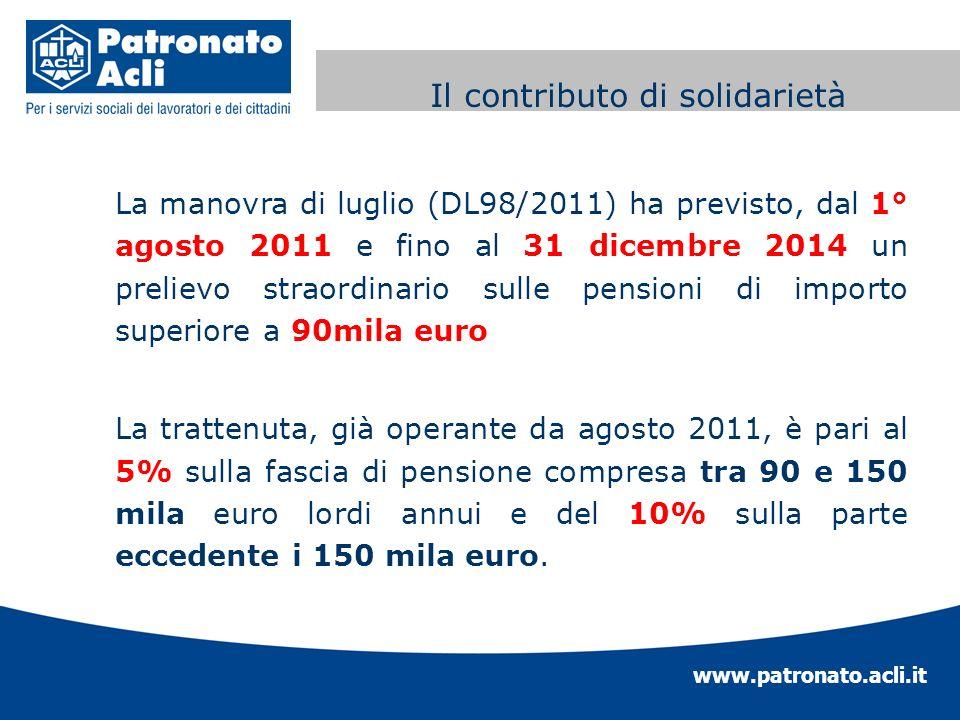 www.patronato.acli.it Contributo di solidarietà La manovra di luglio (DL98/2011) ha previsto, dal 1° agosto 2011 e fino al 31 dicembre 2014 un preliev