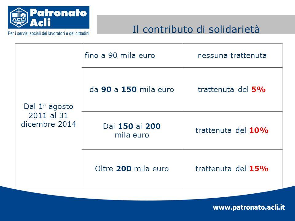 www.patronato.acli.it Contributo di solidarietà Dal 1° agosto 2011 al 31 dicembre 2014 fino a 90 mila euronessuna trattenuta da 90 a 150 mila eurotrat