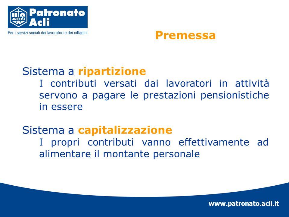 www.patronato.acli.it Sistema a ripartizione I contributi versati dai lavoratori in attività servono a pagare le prestazioni pensionistiche in essere