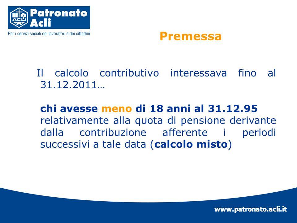 www.patronato.acli.it Il calcolo contributivo interessava fino al 31.12.2011… chi avesse meno di 18 anni al 31.12.95 relativamente alla quota di pensi