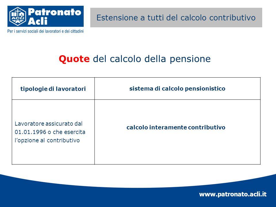 www.patronato.acli.it Estensione a tutti del calcolo contributivo tipologie di lavoratori sistema di calcolo pensionistico Lavoratore assicurato dal 0