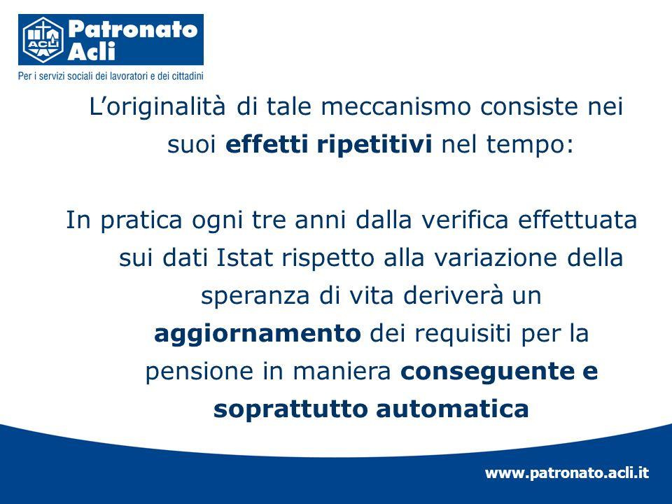 www.patronato.acli.it Loriginalità di tale meccanismo consiste nei suoi effetti ripetitivi nel tempo: In pratica ogni tre anni dalla verifica effettua