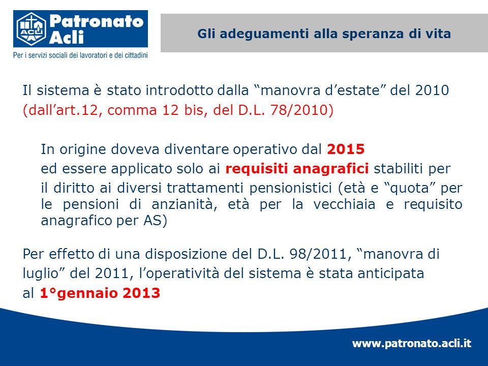 www.patronato.acli.it Incremento requisito anagrafico Il sistema è stato introdotto dalla manovra destate del 2010 (dallart.12, comma 12 bis, del D.L.