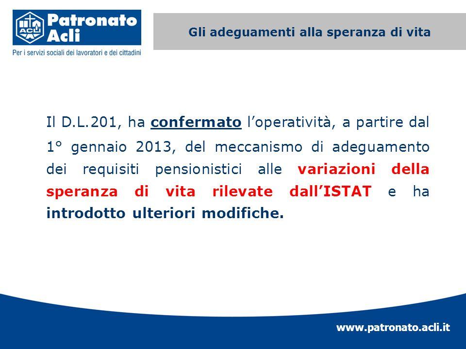 www.patronato.acli.it Incremento requisito anagrafico Il D.L.201, ha confermato loperatività, a partire dal 1° gennaio 2013, del meccanismo di adeguam
