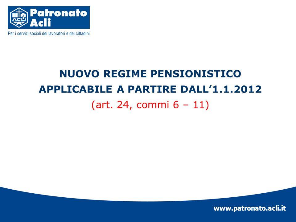 www.patronato.acli.it NUOVO REGIME PENSIONISTICO APPLICABILE A PARTIRE DALL1.1.2012 (art. 24, commi 6 – 11)