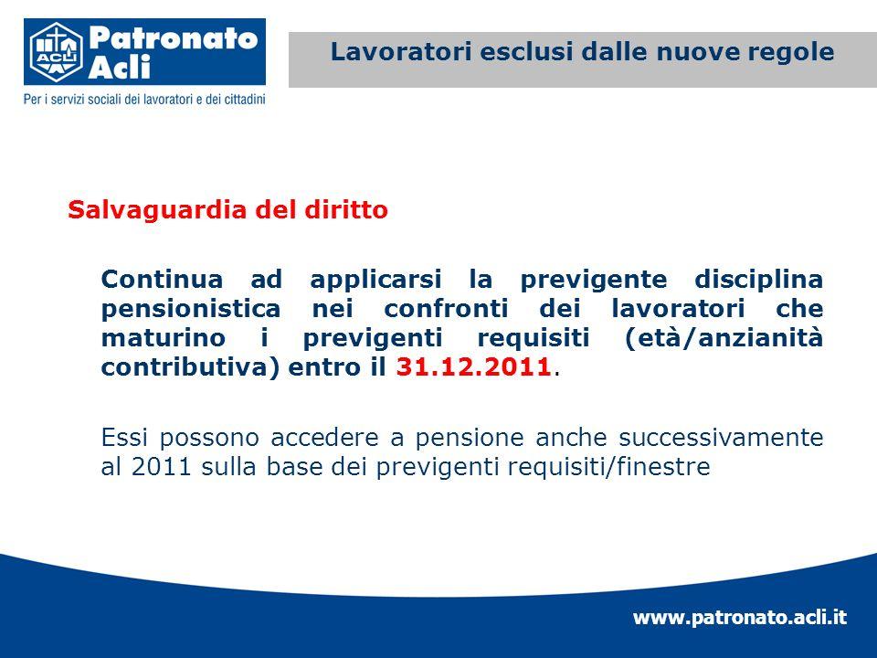 www.patronato.acli.it Incremento requisito anagrafico Salvaguardia del diritto Continua ad applicarsi la previgente disciplina pensionistica nei confr