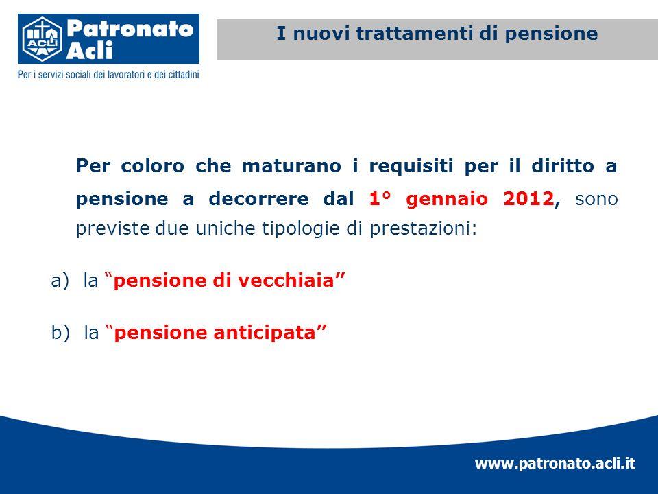 www.patronato.acli.it Incremento requisito anagrafico Per coloro che maturano i requisiti per il diritto a pensione a decorrere dal 1° gennaio 2012, s