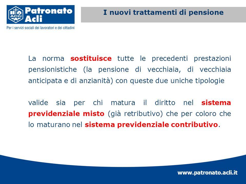 www.patronato.acli.it Incremento requisito anagrafico La norma sostituisce tutte le precedenti prestazioni pensionistiche (la pensione di vecchiaia, d