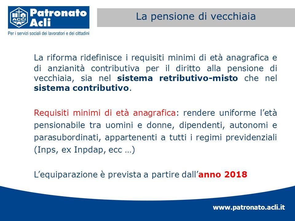 www.patronato.acli.it Incremento requisito anagrafico La riforma ridefinisce i requisiti minimi di età anagrafica e di anzianità contributiva per il d