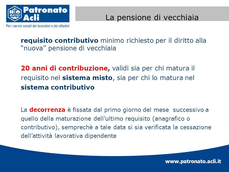 www.patronato.acli.it Incremento requisito anagrafico requisito contributivo minimo richiesto per il diritto alla nuova pensione di vecchiaia 20 anni