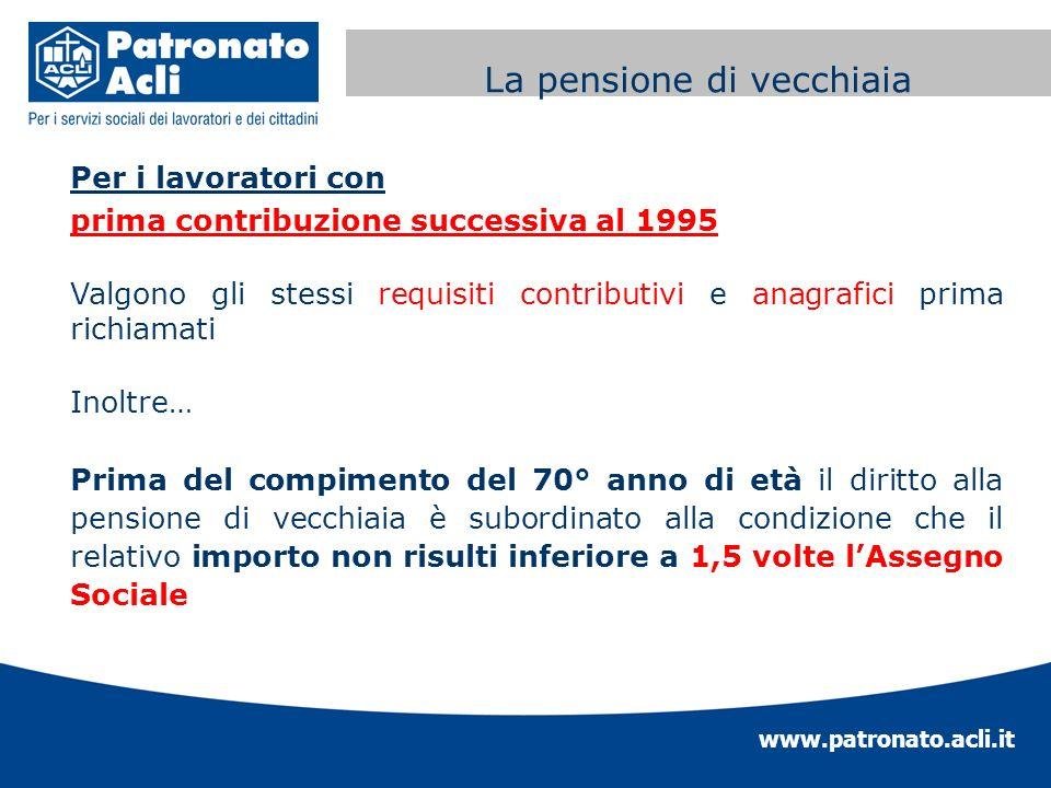 www.patronato.acli.it Incremento requisito anagrafico Per i lavoratori con prima contribuzione successiva al 1995 Valgono gli stessi requisiti contrib