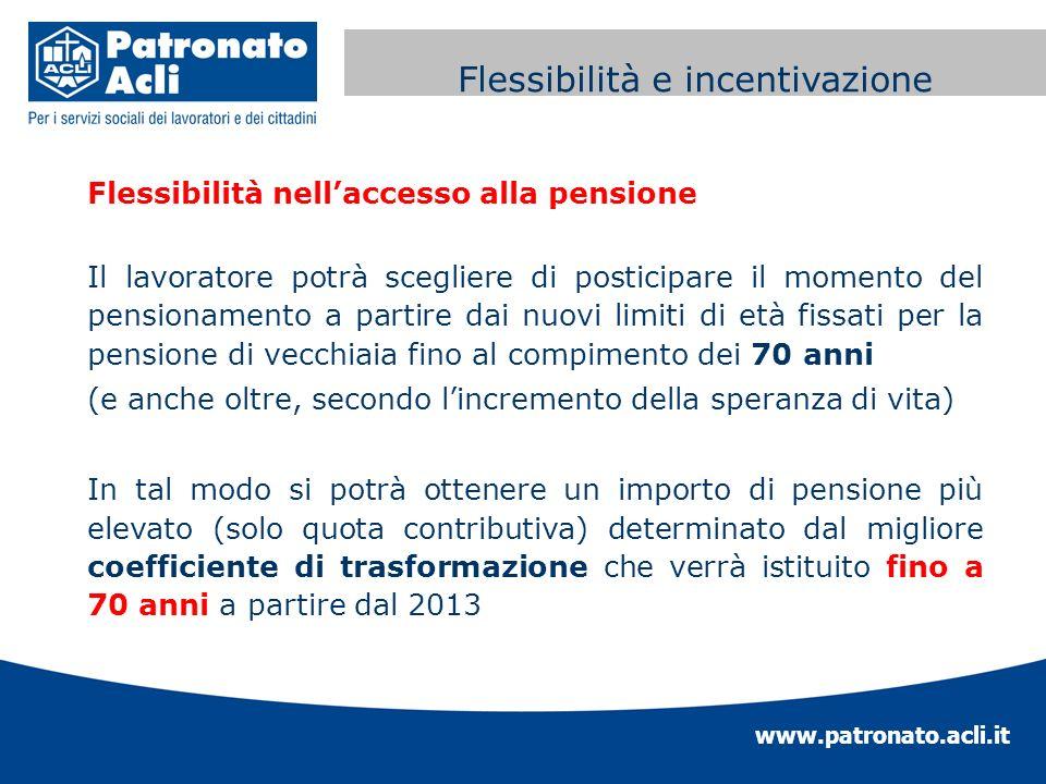 www.patronato.acli.it Incremento requisito anagrafico Flessibilità nellaccesso alla pensione Il lavoratore potrà scegliere di posticipare il momento d