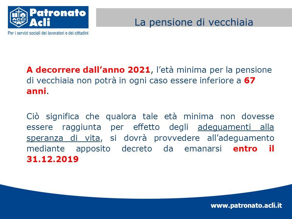 www.patronato.acli.it Incremento requisito anagrafico A decorrere dallanno 2021, letà minima per la pensione di vecchiaia non potrà in ogni caso esser