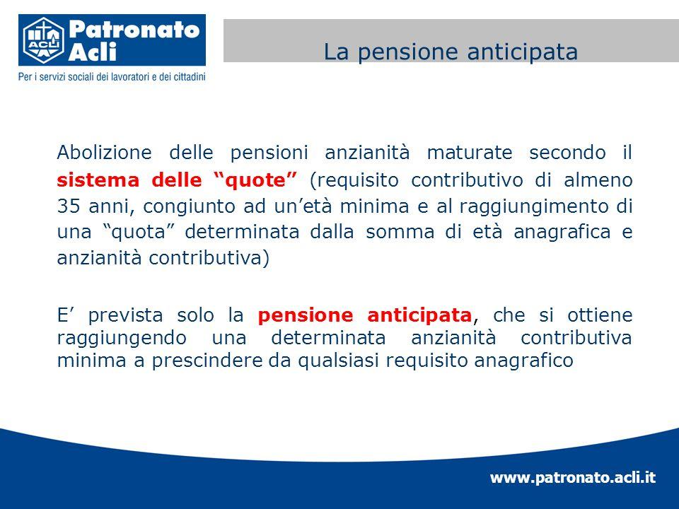 www.patronato.acli.it Incremento requisito anagrafico Abolizione delle pensioni anzianità maturate secondo il sistema delle quote (requisito contribut