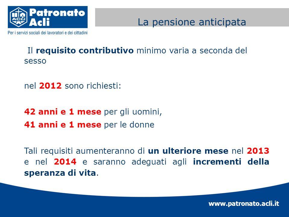 www.patronato.acli.it Incremento requisito anagrafico Il requisito contributivo minimo varia a seconda del sesso nel 2012 sono richiesti: 42 anni e 1