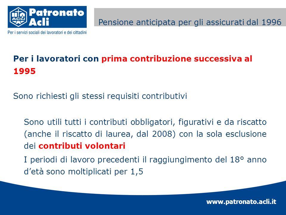 www.patronato.acli.it Incremento requisito anagrafico Per i lavoratori con prima contribuzione successiva al 1995 Sono richiesti gli stessi requisiti