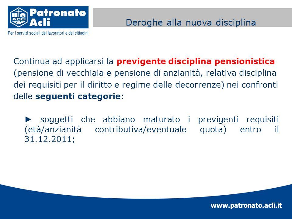 www.patronato.acli.it Incremento requisito anagrafico Continua ad applicarsi la previgente disciplina pensionistica (pensione di vecchiaia e pensione