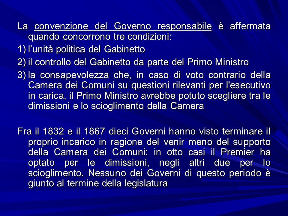 La convenzione del Governo responsabile è affermata quando concorrono tre condizioni: 1)lunità politica del Gabinetto 2)il controllo del Gabinetto da