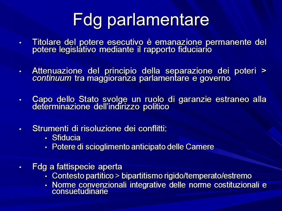 Fdg parlamentare Titolare del potere esecutivo è emanazione permanente del potere legislativo mediante il rapporto fiduciario Titolare del potere esec