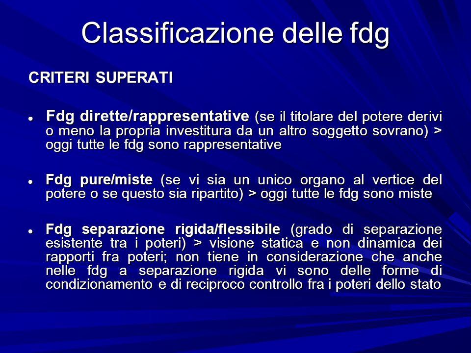 Classificazione delle fdg CRITERI SUPERATI Fdg dirette/rappresentative (se il titolare del potere derivi o meno la propria investitura da un altro sog