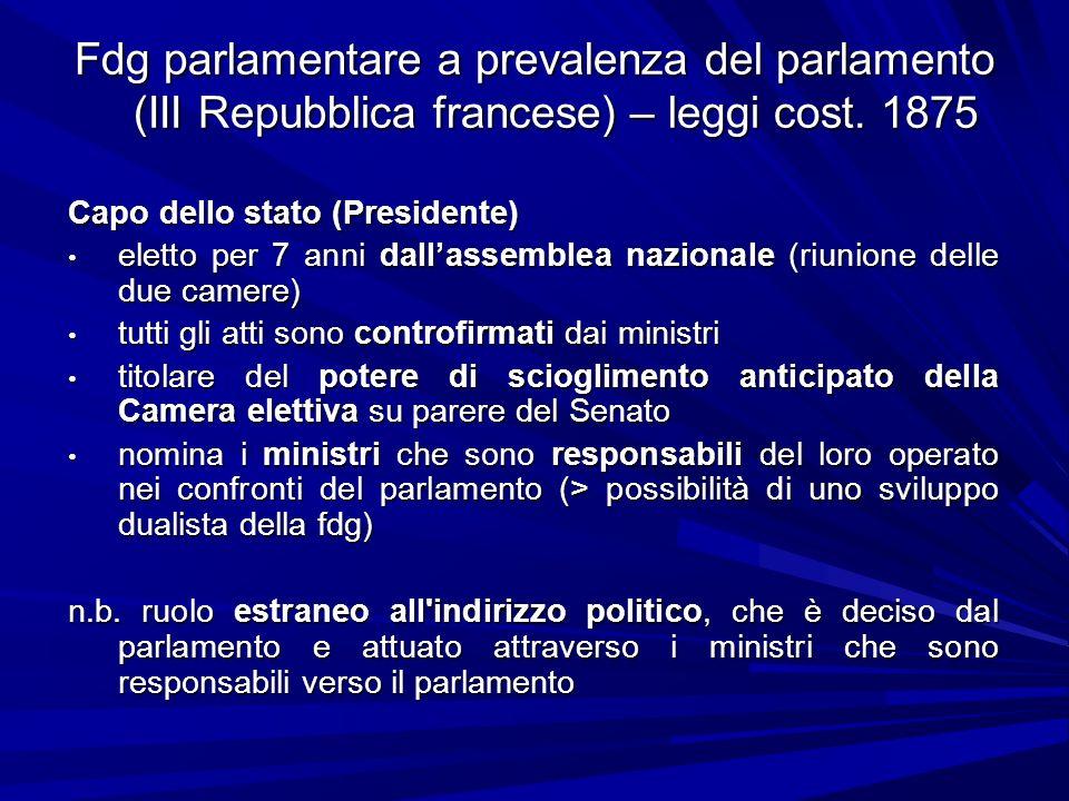 Fdg parlamentare a prevalenza del parlamento (III Repubblica francese) – leggi cost. 1875 Capo dello stato (Presidente) eletto per 7 anni dallassemble