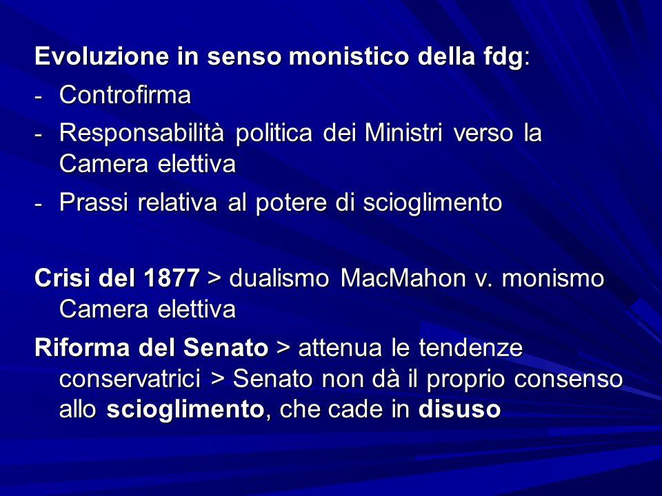 Evoluzione in senso monistico della fdg: - Controfirma - Responsabilità politica dei Ministri verso la Camera elettiva - Prassi relativa al potere di