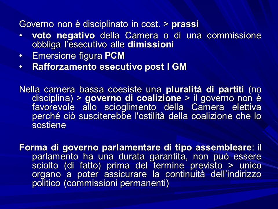 Governo non è disciplinato in cost. > prassi voto negativo della Camera o di una commissione obbliga lesecutivo alle dimissionivoto negativo della Cam