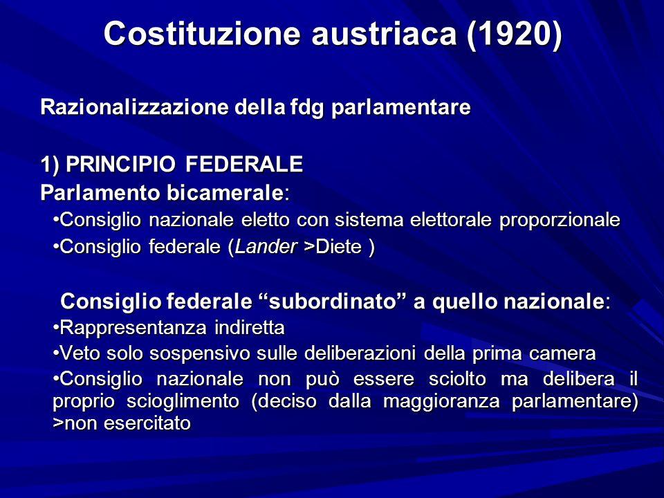 Costituzione austriaca (1920) Razionalizzazione della fdg parlamentare 1) PRINCIPIO FEDERALE Parlamento bicamerale: Consiglio nazionale eletto con sis
