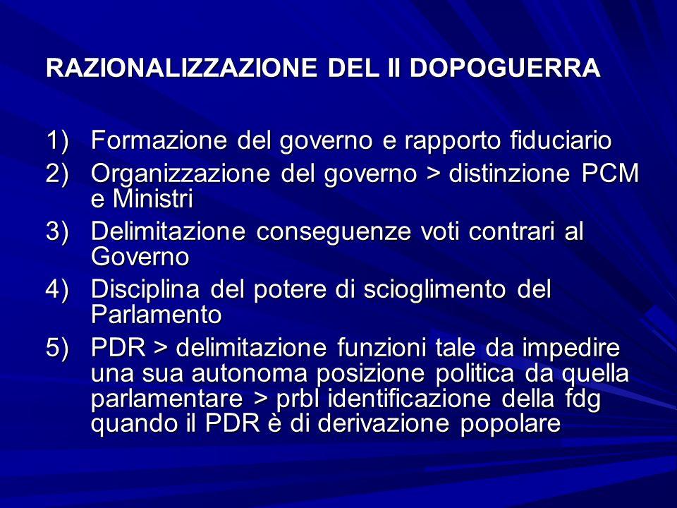 RAZIONALIZZAZIONE DEL II DOPOGUERRA 1)Formazione del governo e rapporto fiduciario 2)Organizzazione del governo > distinzione PCM e Ministri 3)Delimit